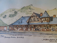 Passenger Station of Baltimore & Ohio RR, 1889, Original Plan. A.M. Bieler.