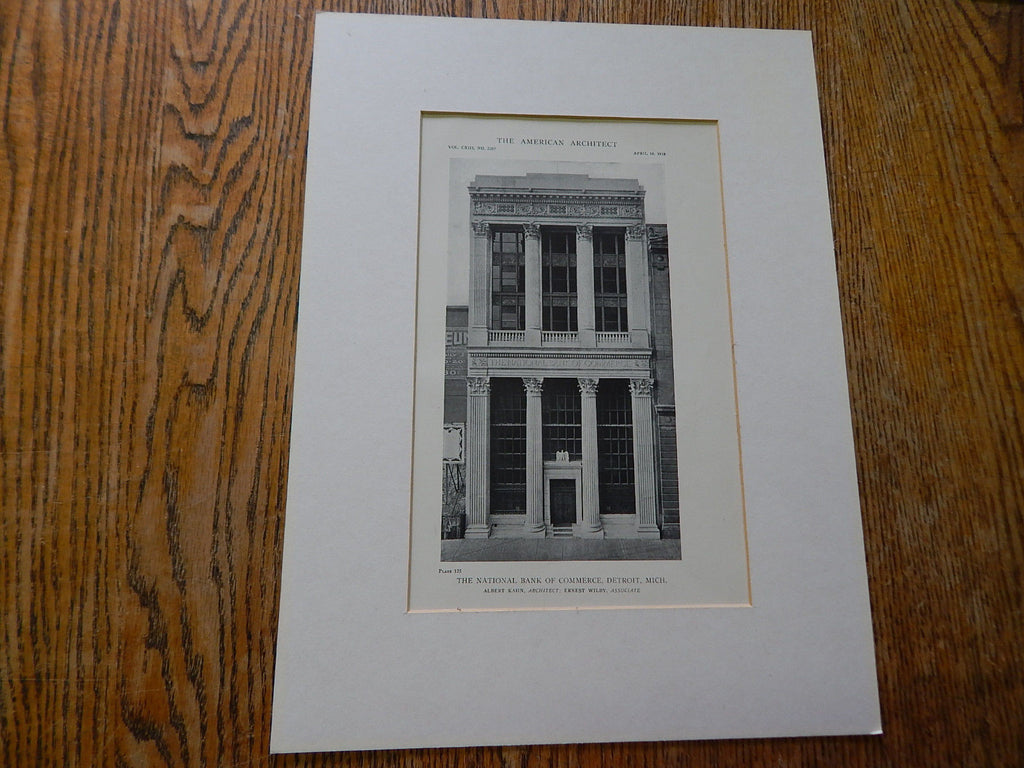 The National Bank of Commerce,Detroit, MI, 1918,Lithograph.  Albert Kahn, Ernest Wily Associate.