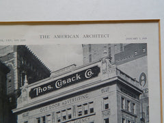 Building for Thomas Cusack Co., Broadway&5th Ave, New York, NY, 1919, Lithograph.