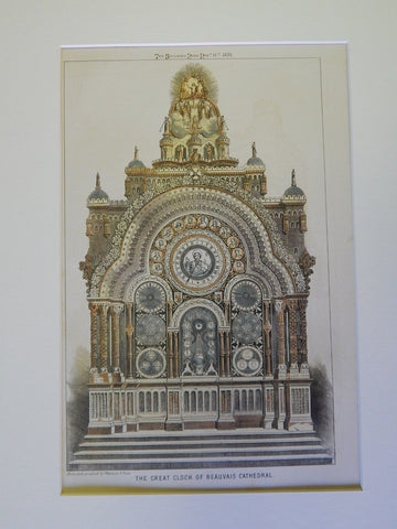 Astronomical Clock, Cathedral of St. Peter of Beauvais, France, 1870. Original Plan. Vérité.