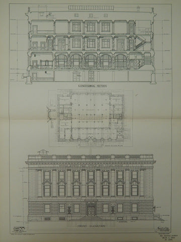 Elevation & Sections, US Post Office & Court House, Elmira, NY, 1902, Orig. Plan. James Knox Taylor.