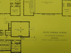 Gymnasium Floor Plans, State Normal School, Los Angeles, CA, 1914, Original Plan. Allison & Allison