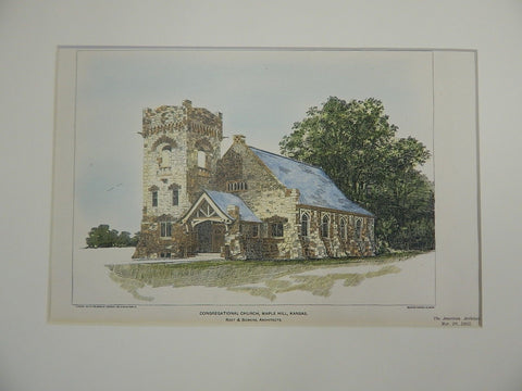 Congregational Church, Maple Hill, Kansas, 1903, Original Plan. Root & Siemens.