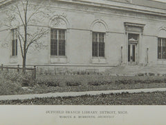 Duffield Branch Library, Detroit, MI, 1919, Lithograph. Marcus R. Burrowes.