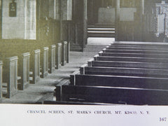 Chancel Screen, St. Mark's Church, Mt. Kisco, NY, 1914, Lithograph.