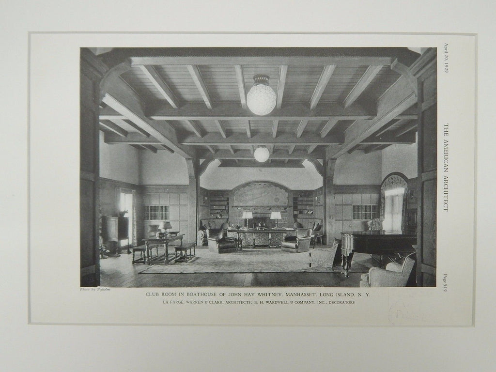 Club Room Boathouse Of John Hay Whitney Manhasset Ny 1929