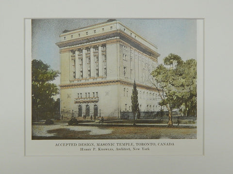 Accepted Design for the Masonic Temple in Toronto, Canada, 1915. Harry P. Knowles
