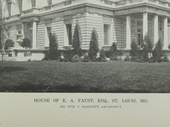 Exterior of the House of E. A. Faust, Esq., St. Louis MO, 1916. Tom P. Barnett. Lithograph