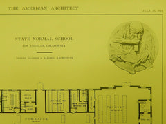 Manual Arts Building Floor, State Normal School, Los Angeles, CA, 1914, Original Plan. Allison&Allison