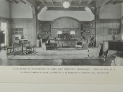 Club Room, Boathouse of John Hay Whitney, Manhasset, NY, 1929, Lithograph. La Farge, Warren & Clark.
