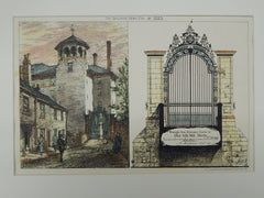 Wrought Iron Entrance Gates, Old Silk Mill, Derby, England, 1883, Original Plan. A. Macpherson