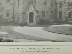 House of John K. Berry, Esq., Greenwich, CT, 1914, Lithograph. Theodore E. Blake.
