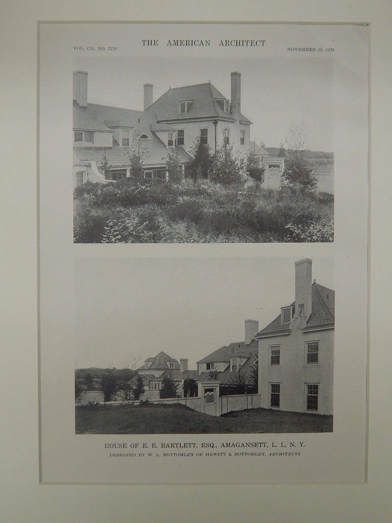 Exterior, House of E. E. Bartlett, Amagansett, Long Island, NY, 1916, Lithograph. W.L. Bottomley.