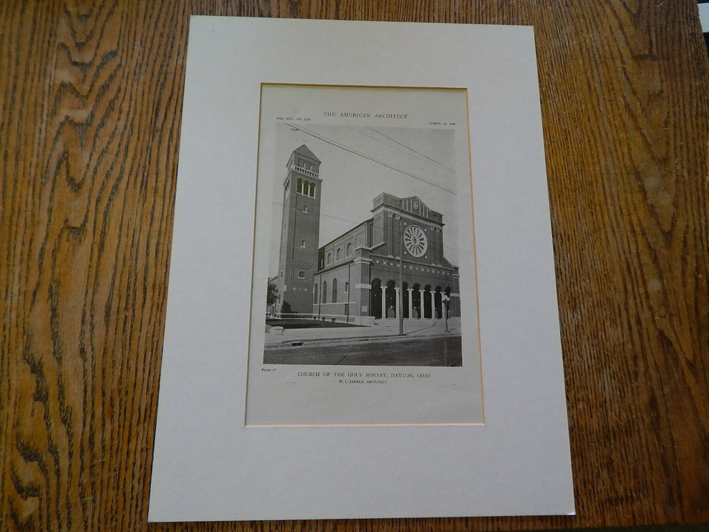 Exterior, Church of the Holy Rosary, Dayton, OH, 1919, Lithograph. W.L. Jaekle.