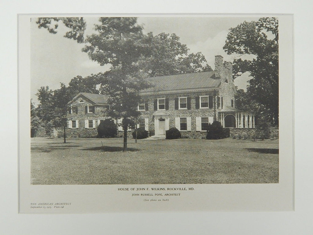 Perspective, House of John F. Wilkins, Rockville, MD, 1925, Lithograph. John Russell Pope.