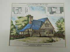 Cemetery Lodge and Lych Gate, Sutton, Coldfield UK, 1880, Original Plan. Thomas Cutler.