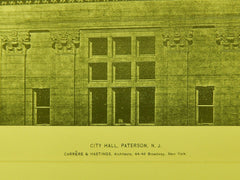 Detail, City Hall, Paterson, NJ, 1896, Lithograph. Carrere & Hastings.