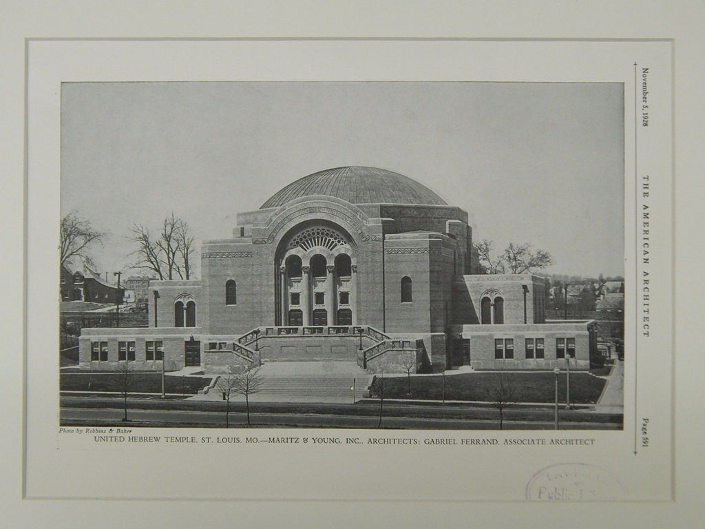 Exterior, United Hebrew Temple, St. Louis, MO, 1928, Lithograph. Maritz & Young