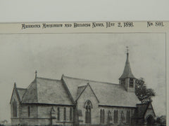 All Saints Church, Ackworth, Moortop, Yorkshire, UK, 1891, Lithograph. Henry Curzon.