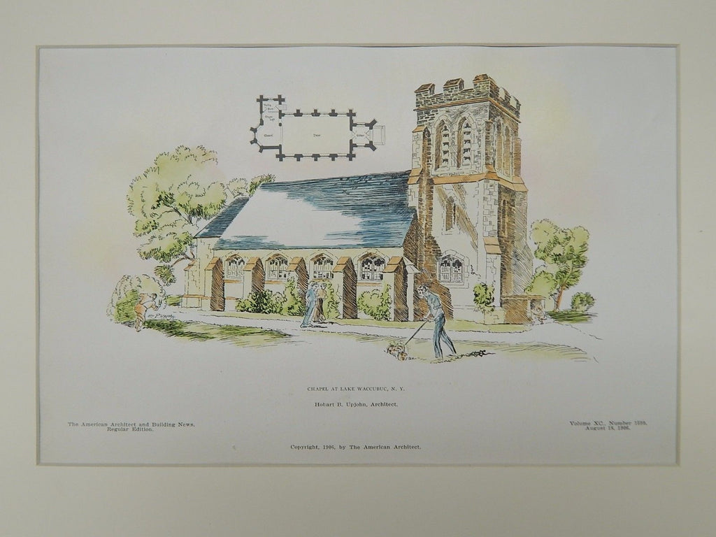 Chapel, Lake Waccubuc, NY, 1906, Original Plan. Upjohn.
