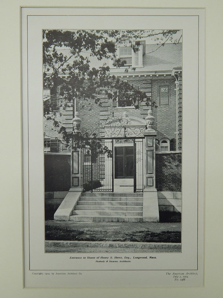 Entrance to House of Henry S. Howe, Longwood, MA, 1904, Lithograph. Peabody & Stearns.