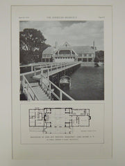 Exterior, Boathouse of John Hay Whitney, Manhasset, NY, 1929, Lithograph. La Farge, Warren & Clark.