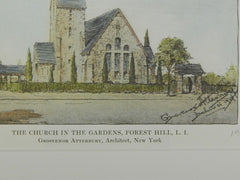 Church in the Gardens in Forest Hill, Long Island NY, 1915. Grosvenor Atterbury. Original