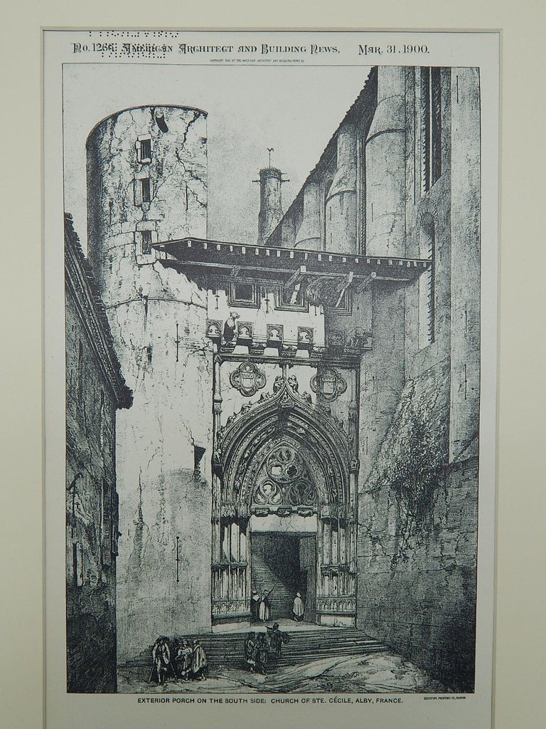 Exterior Porch: Church of Ste. Cecile in Alby, France, 1900. Original