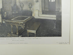 Reception Room, Wetzel Building, New York, 1905. Colored Photograph. Hill & Stout.