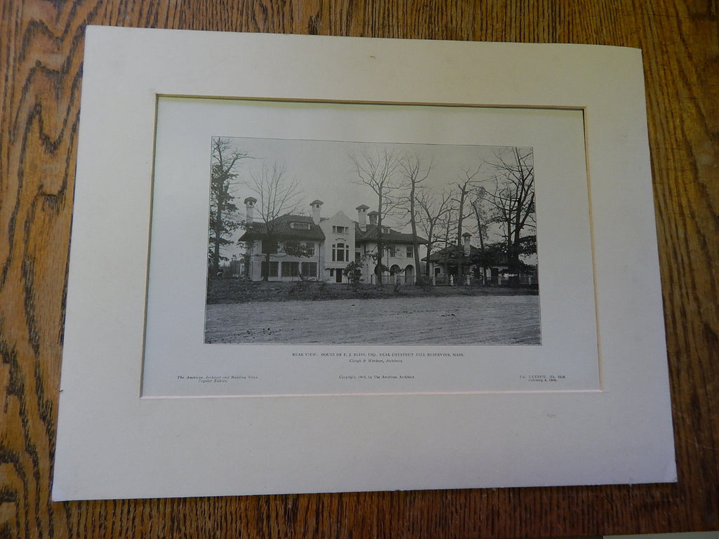Rear View: House of E.J. Bliss, Nr Chestnut Hill Reservoir, MA,1905, Lithograph. Clough & Wardner.
