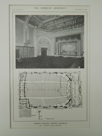 Interior, Liberty Theatre, Detroit, MI, 1914, Lithograph. C. Howard Crane.