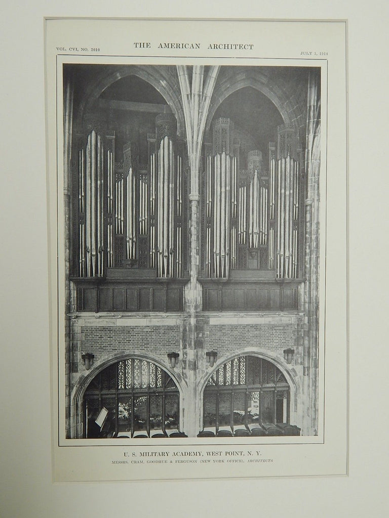 Organ, U.S. Military Academy, West Point, NY, 1914. Lithograph. Cram, Goodhue, Ferguson.