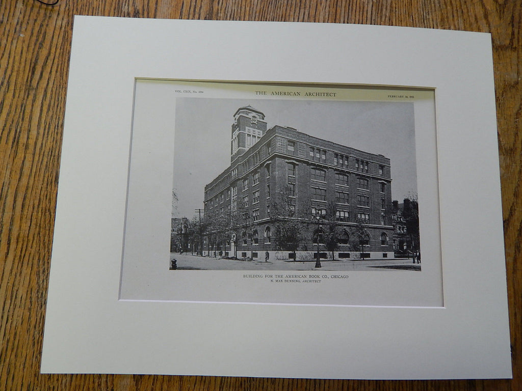 Building For American Book Co., Chicago, 1921. Lithograph. Dunning.