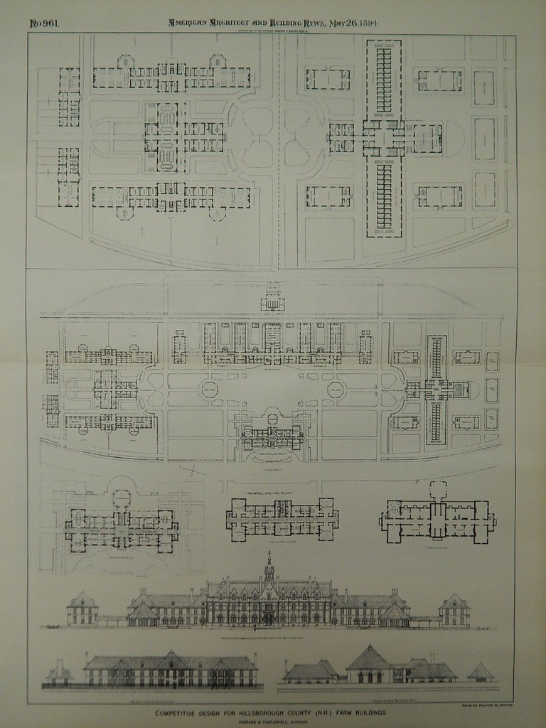 Competitive Design, Hillsborough County Farm Buildings, NH, 1894, Original Plan. Howard & Cauldwell.