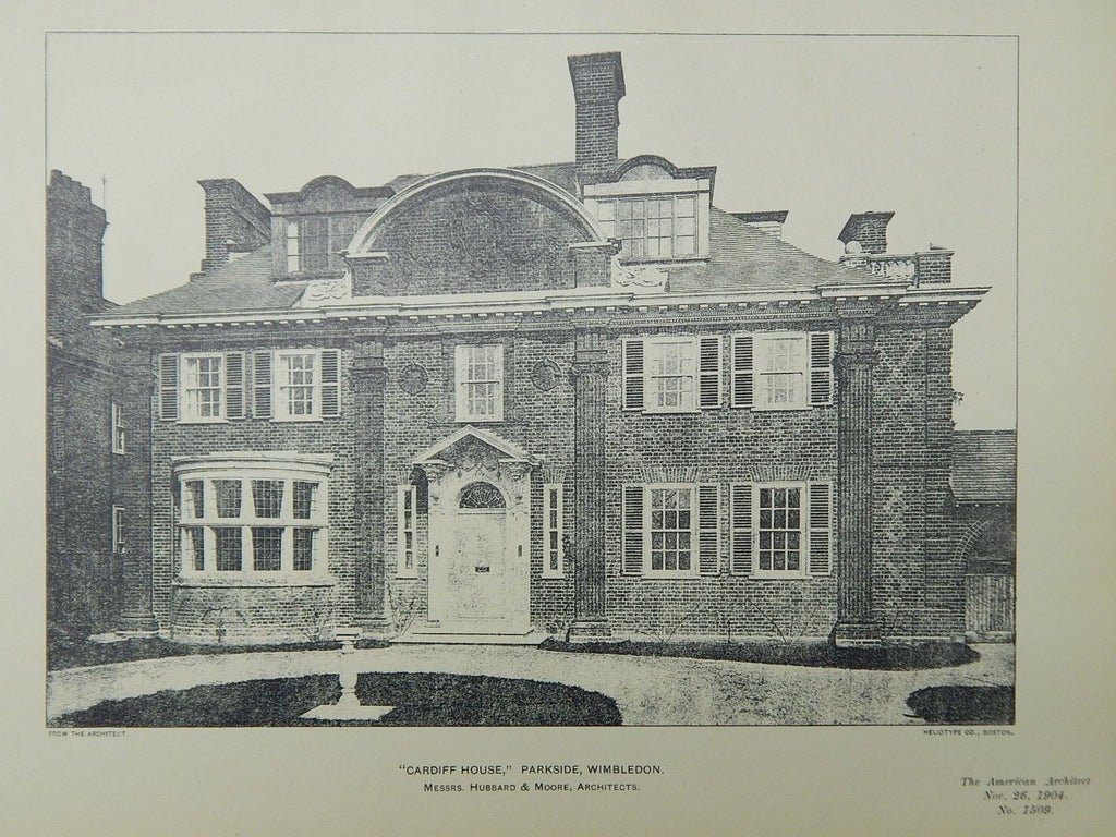 Cardiff House, Parkside, Wimbledon, London, UK, 1904, Lithograph. Hubbard & Moore.