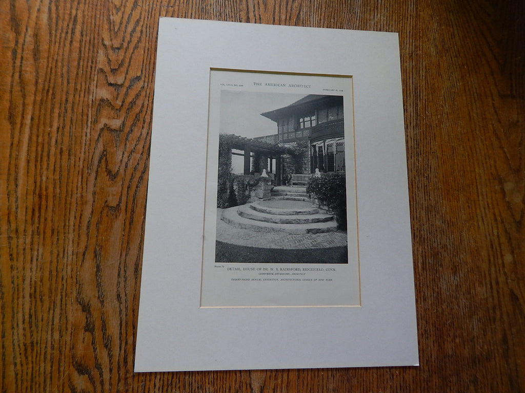 House of Dr. W.S. Rainsford, Ridgefield, CT, Lithograph,1918. Atterbury.
