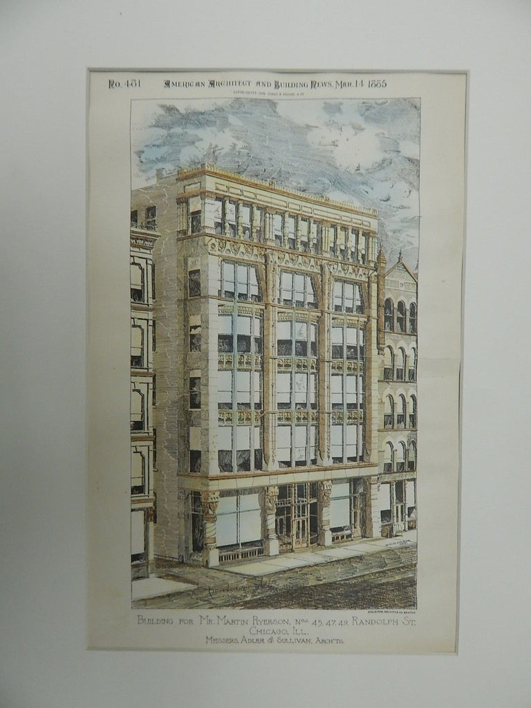 Building for Mr. Martin Ryerson, Randolph St., Chicago, IL,1885. Original Plan.Edler & Sullivan