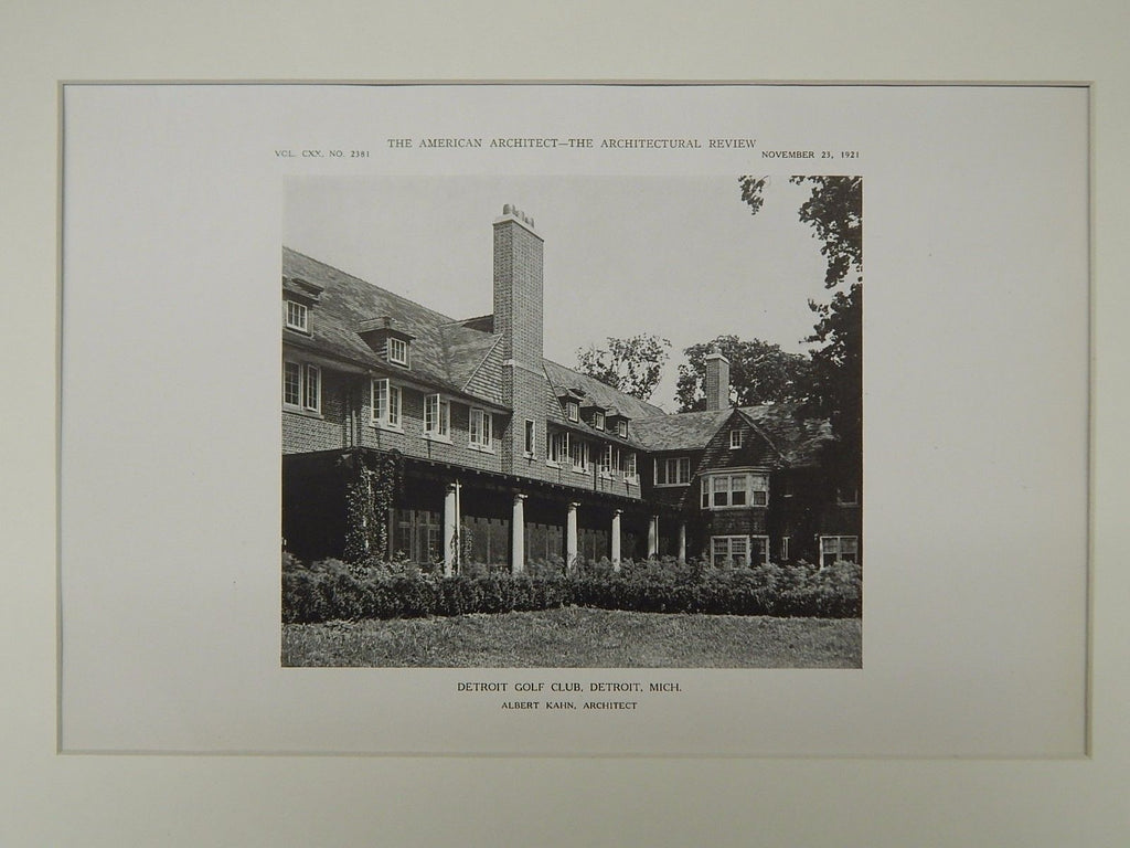 Alternate Perspective, Detroit Golf Club, Detroit, MI, 1921, Lithograph. Albert Kahn.