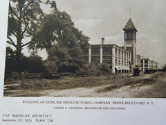 Building of Dubilier Manuf Co.,Bronx Blvd, N.Y.,& Inter'l Motor,1926, Lithograph. Timmis & Chapman.