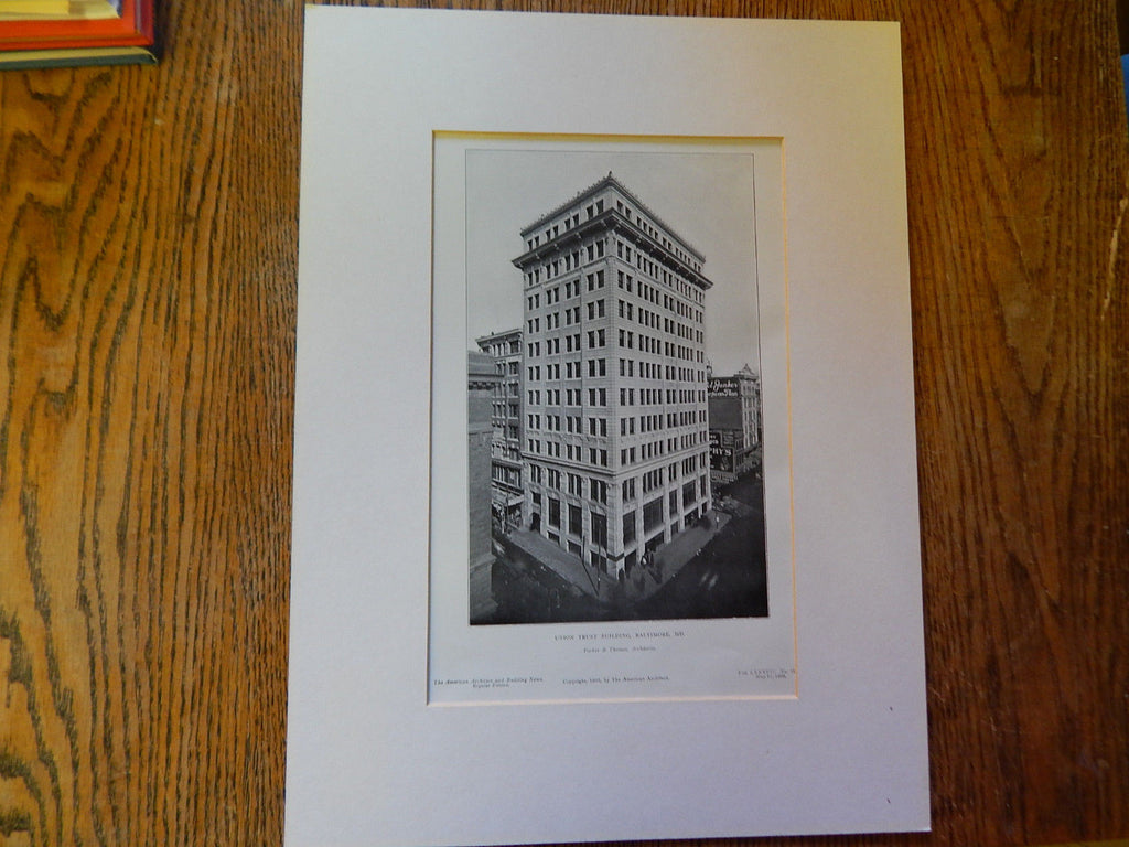 Union Trust Building, Baltimore, MD,1905, Lithograph. Parker/Thomas.