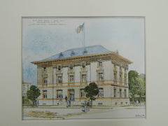 U.S. Post Office and Court House, Elizabeth City, NC, 1905. Original Plan. James Knox Taylor.