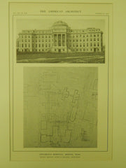 Layout, Children's Hospital, Boston, MA, 1914, Lithograph. Shepley, Rutan & Coolidge.