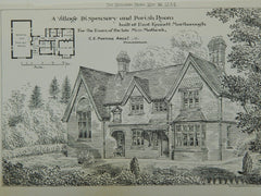 Village Dispensary & Parish Room, East Kennet, UK, 1884, Original Plan. C.E. Ponting.