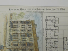 Block of 10 Houses for William Robertson, Newark, NJ, 1884, Original Plan. Van Campen Taylor.