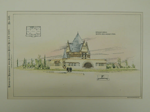 Unitarian Church, Topeka KS, 1891. Seymour Davis. Original Plan