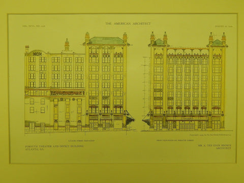 Elevations: Forsyth Theater and Office Building in Atlanta GA, 1909. A. Ten Eyck Brown