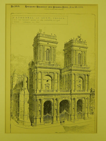 Cathedral Front, Auch, France, 1894