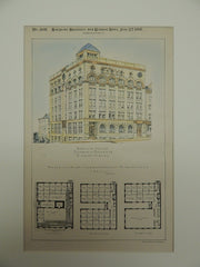 Design for Chamber of Commerce, Richmond, Virginia, 1891. M.D. Dimmock.