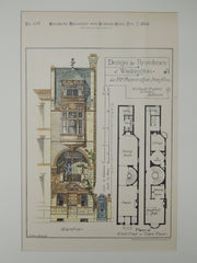 Design, Mrs. Mornington Smythe Residence, Washington, DC, 1884, Original Plan. W. Claude Frederic.