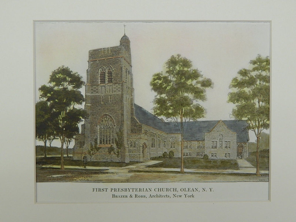 First Presbyterian Church in Olean NY, 1914. Brazer & Robb. Original